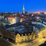 Evening view of the Tallinn Old Town, Estonia