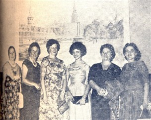 Profa. Therezinha Pero, Inez Morrone, Julieta Meira D'Abronzo, Dlila Zecchi Cabral, Senise Gomes Silva e baroneza de Ventimiglia.