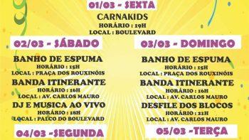CarnaÁguas 2019 terá desfile de blocos e atrações para família