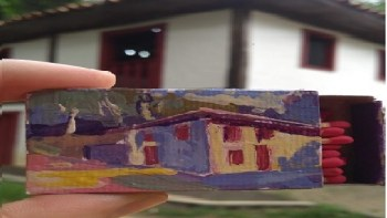 """Casa do Povoador tem exposição """"Arte sobre Caixa de Fósforos"""""""