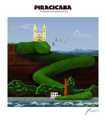 """A Cobrona - ilustração de Denis Marcorin para o livro """"Piracicaba: Folclore em Poeminhas"""""""