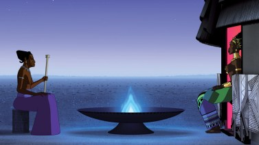 No último filme da trilogia, Kiriku é chamado para salvar sua aldeia de perigos sobrenaturais e humanos. (imagem: divulgação)