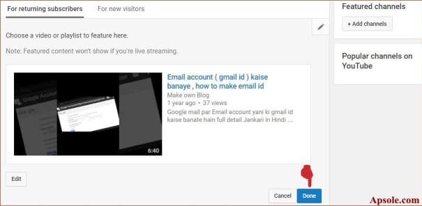 finally click on save button how to make youtube channel trailer