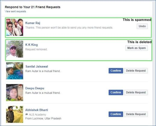 How to delete a facebook friend request