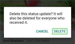delete a whatsapp status