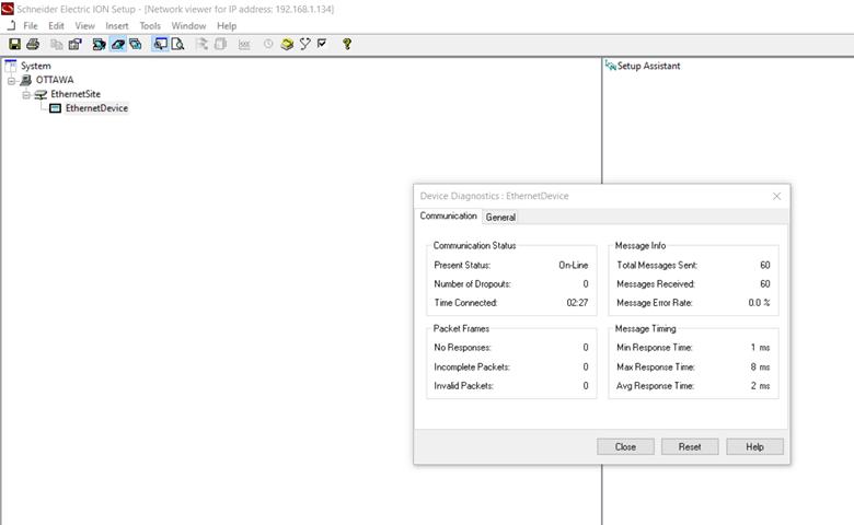 Device Diagnostics Screen