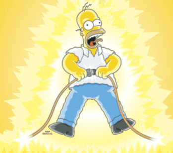 Homer Simpson getting electrified