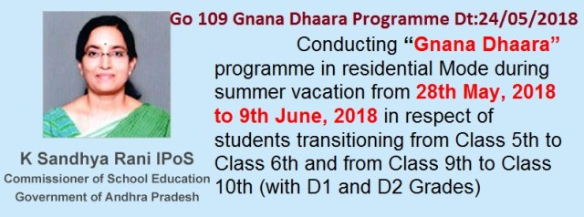 AP Go.109 Gnana Dhaara programme for D1, D2 Grade Students from 28th May, 2018 to 9th June, 2018, Gnana Dhaara Programme from 28th May, 2018 to 9th June, 2018 in respect of students transitioning from Class 5th to Class 6th and from Class 9th to Class 10th