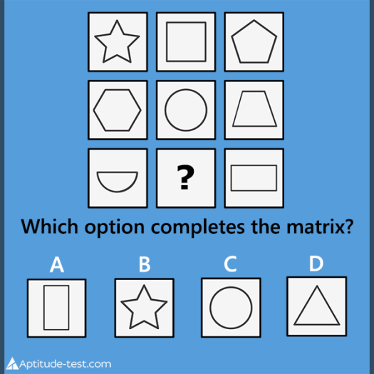 Abstract reasoning test question. Which option completes the matrix?