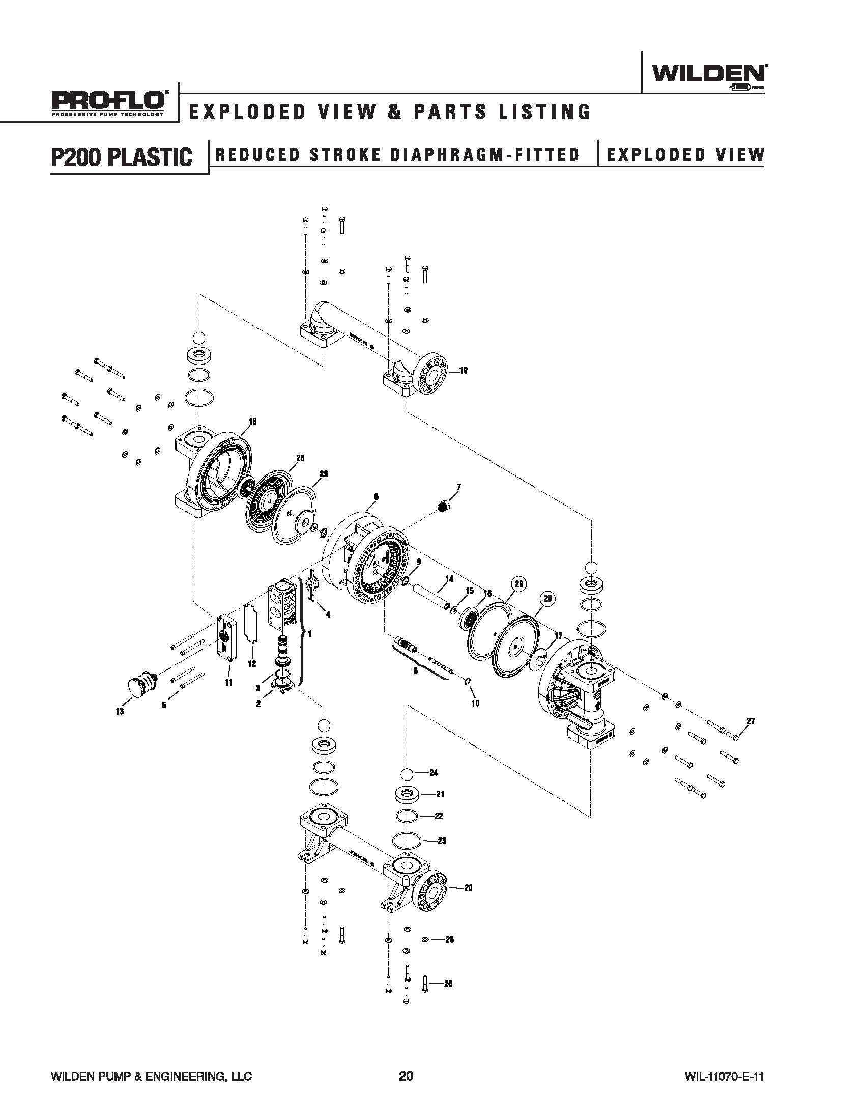Wilden P200 Advanced Plastic Reduced Stroke Ptfe
