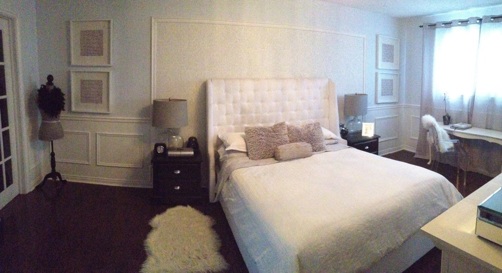 Master Bedroom Revamp using damask wallpaper behind the headboard in soft blue white and grey at apurdylittlehouse.com