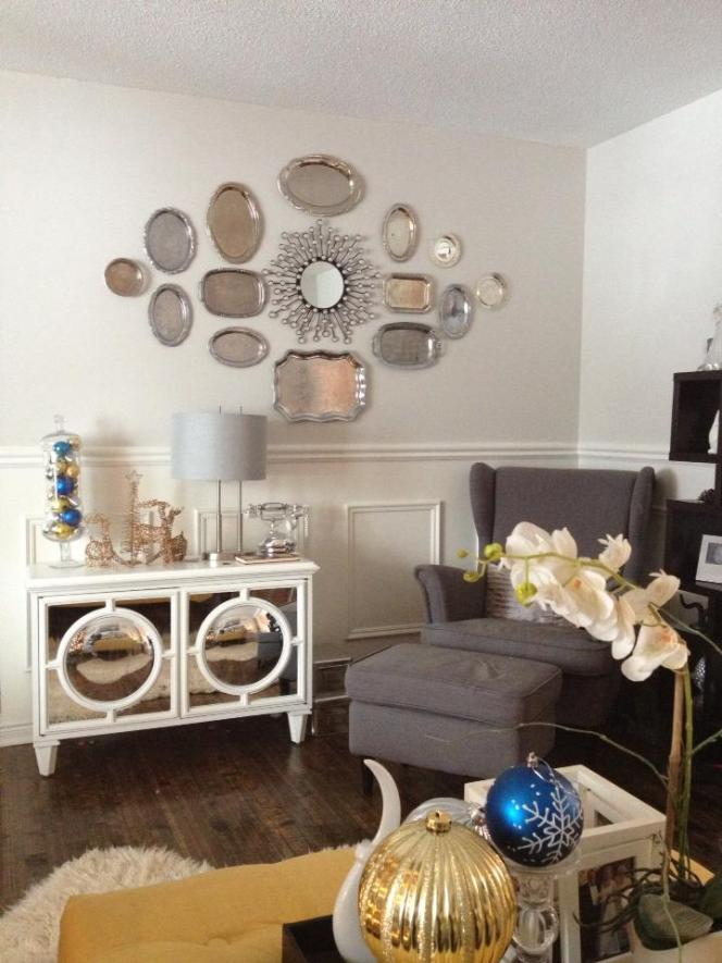 Christmas Home Tour 2015. Antique Platter feature wall using silver platters. See all the details at apurdylittlehouse.com