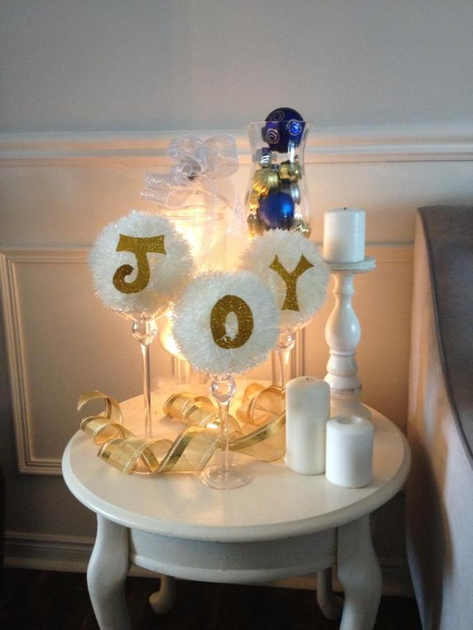 Christmas Home Tour 2015. My Holiday Home features neutral decor with pops of blue and silver. See the details at apurdylittlehouse.com