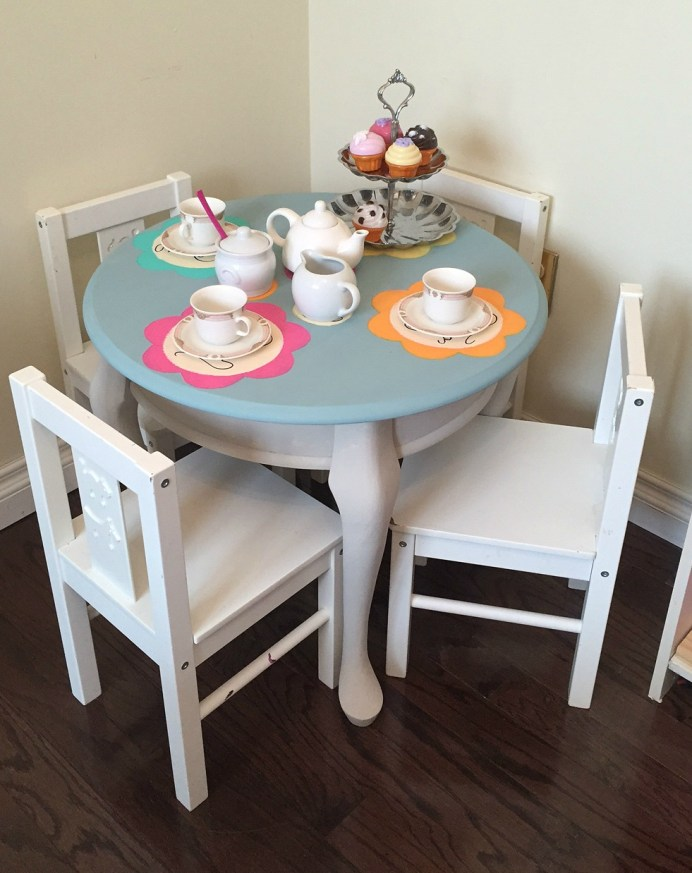 Deco Art Fab Furniture Flippin Contest Tea Party Table How to paint without sanding chalk paint apurdylittlehouse.com
