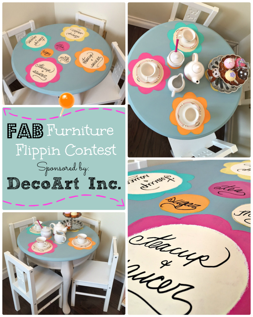 Fab Furniture Flippin Contest DecoArt Inc. Furniture Makeover Make a Statement tea party table apurdylittlehouse.com