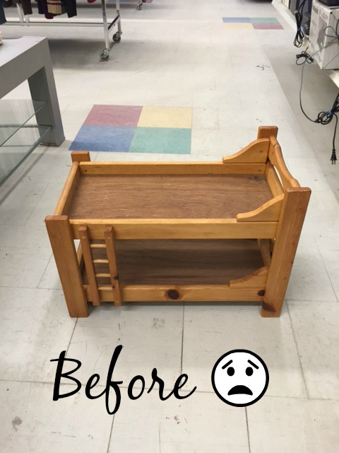 DIY Pet Bed / How to transform an old doll bunkbed into a cute pet bed furniture upcycle repurpose Furniture Refresh apurdylittlehouse.com