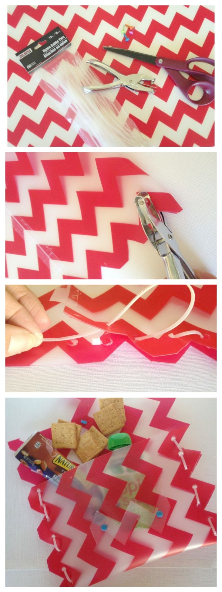 Making a snack pouch out of a vinyl placemat #30dayflip