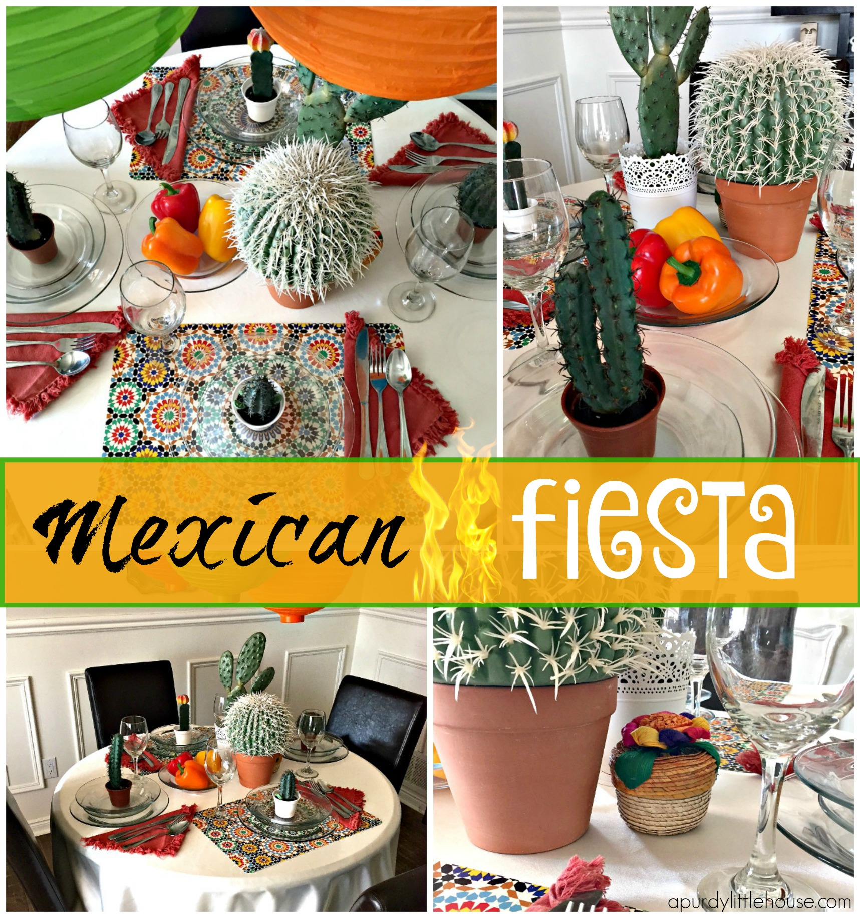 Mexican FiestaTable Setting for a Mexican themed dinner Mexican food table setting apurdylittlehouse.com  sc 1 st  A Purdy Little House & Mexican Fiesta Table Setting - a purdy little house