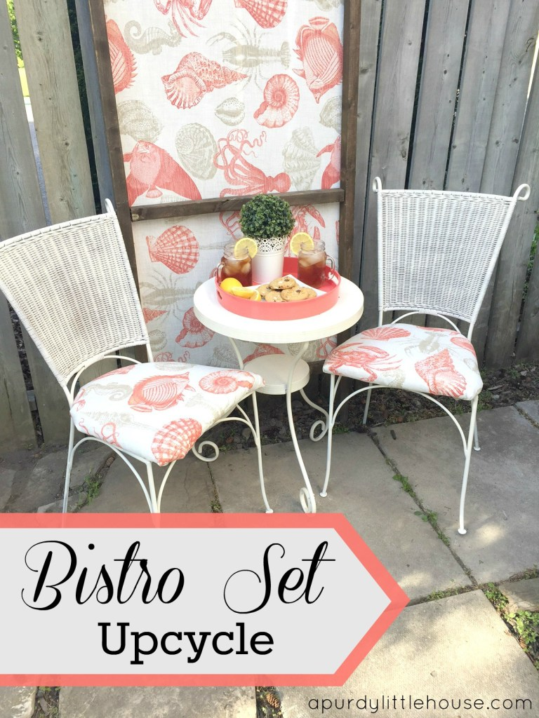 This Bistro Set Upcycle was completed using chairs found on the side of the road and reupholstered on apurdylittlehouse.com