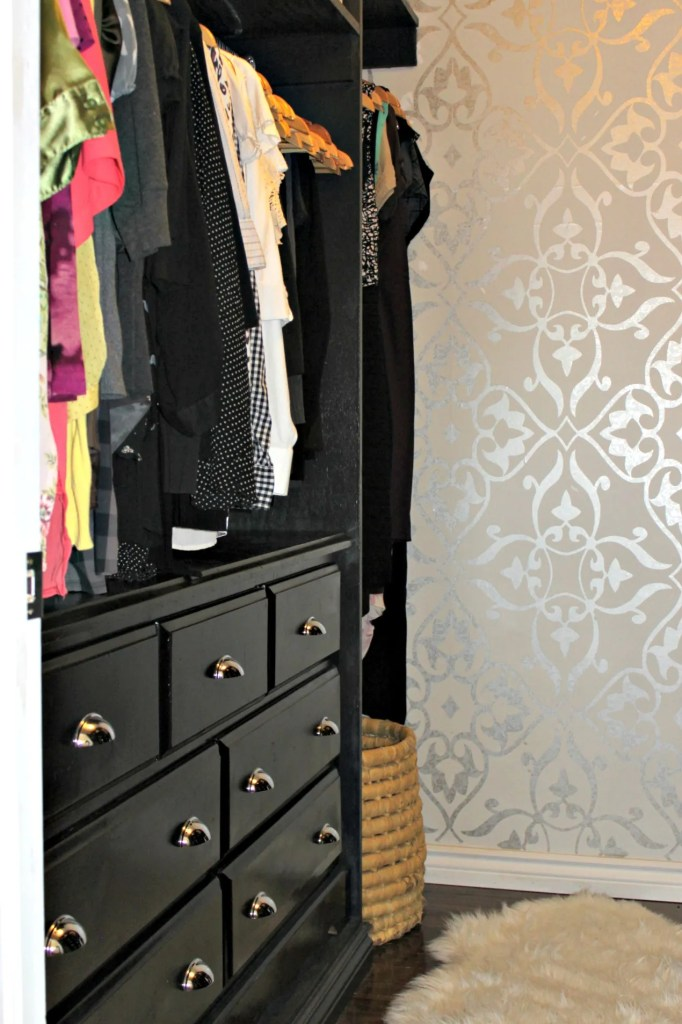 Master Bedroom Closet Makeover with Custom Built ins and lots of storage and with metallic wallpaper at apurdylittlehouse.com