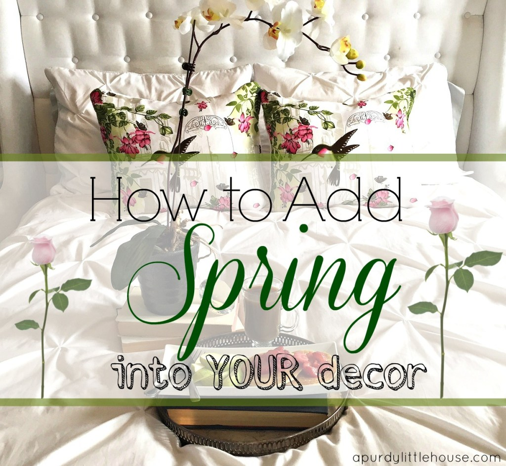 How to bring Spring into your decor Easy Spring Pillow Cover Tutorial Hummingbird Watercolor fabric apurdylittlehouse.com