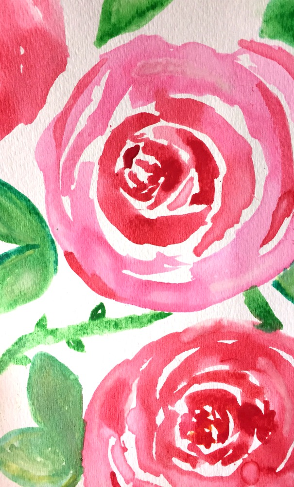 How to create DIY Art as Spring Decor 30 day flip challenge Watercolour Roses for beginners Free Printable iphone wallpaper apurdylittlehouse.com
