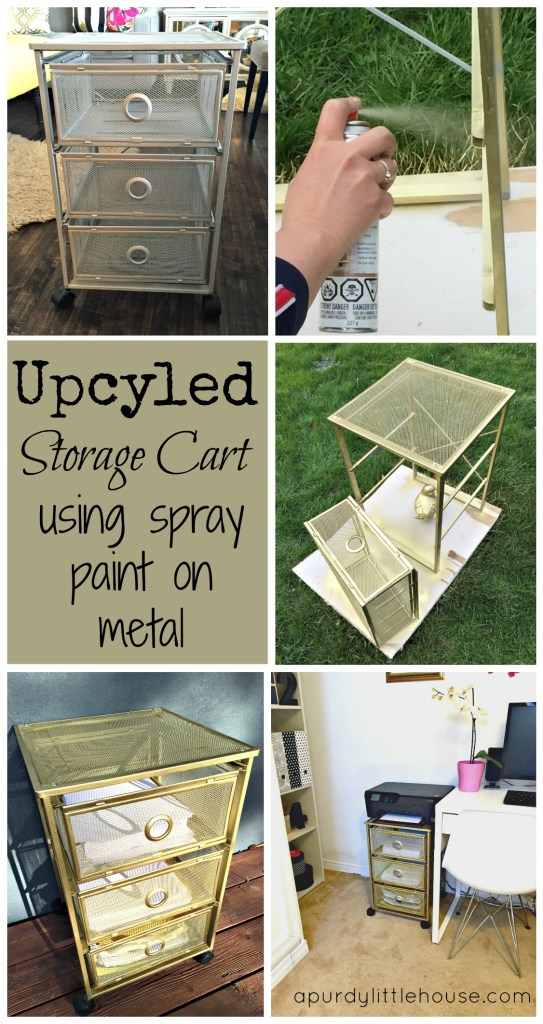 Upcycled Storage Cart using spray paint on metal apurdylittlehouse.com
