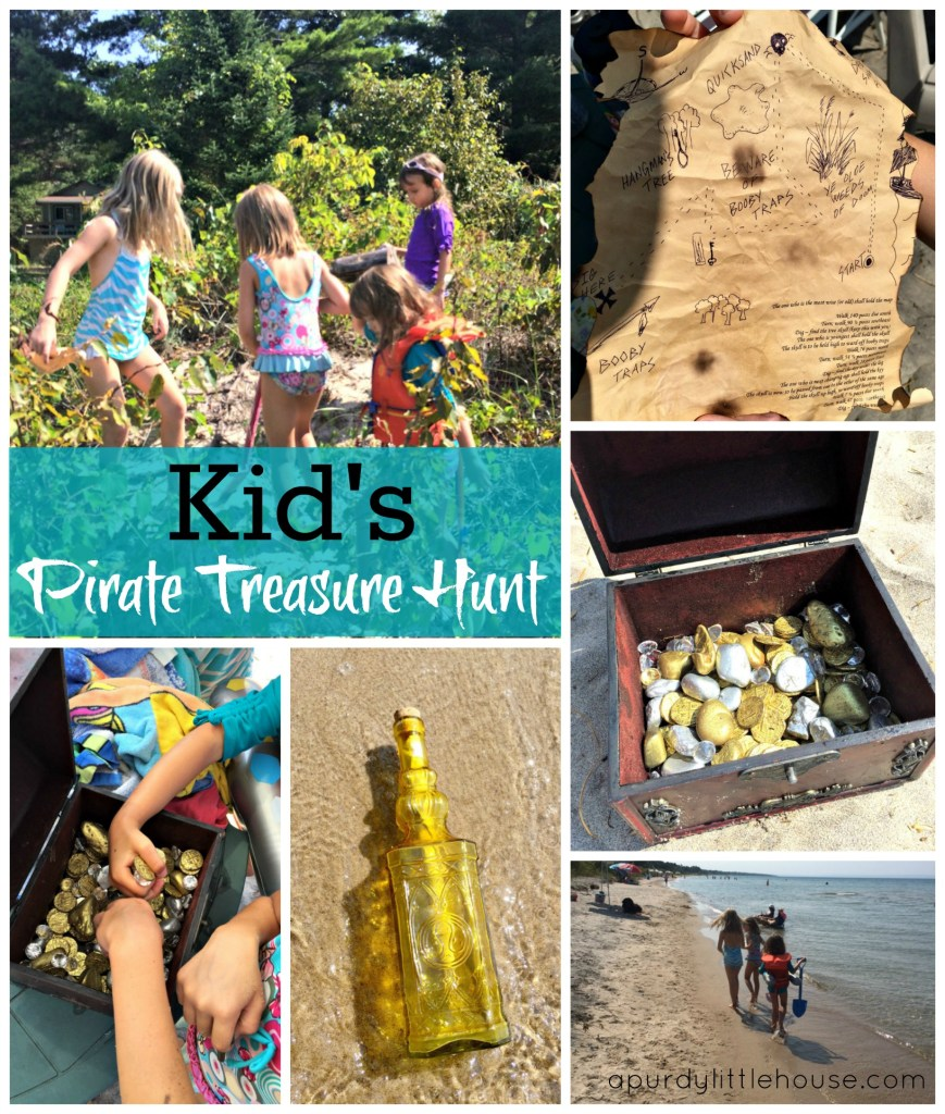Keep the kids busy this summer with an easy Kid's Pirate Treasure Hunt featured on apurdylittlehouse.com
