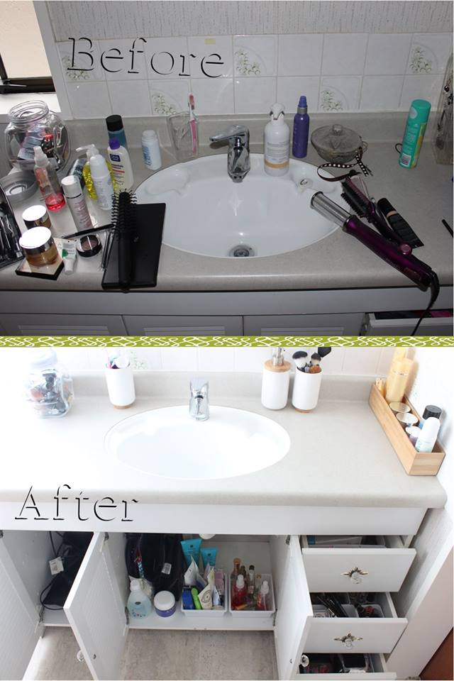 Dollar Store Flip for the #30dayflip challenge. This bathroom was organzied using items from the dollar store