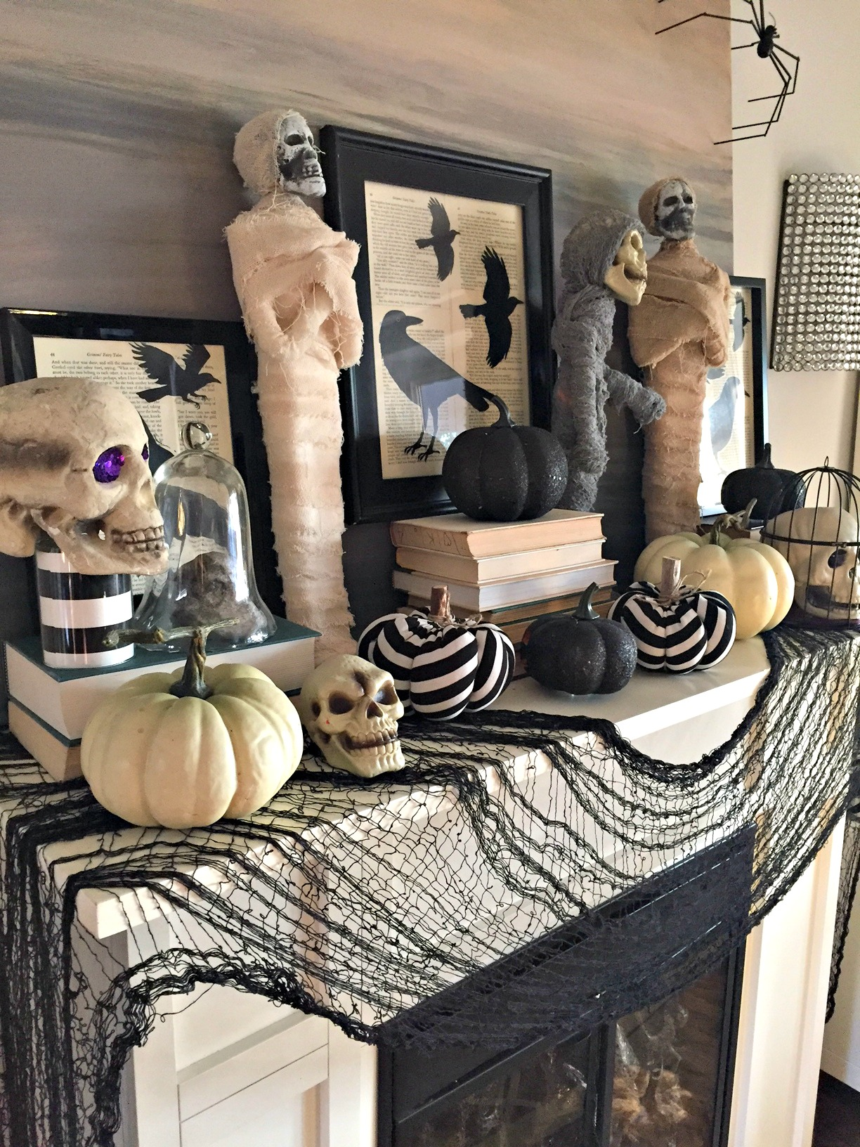 creepy halloween mantel a purdy little house - Halloween Mantle