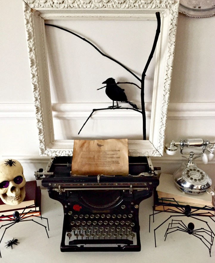Spooky Halloween Decorations using an old typewriter and The Raven by Edgar Allan Poe. See all the details at apurdylittlehouse.com