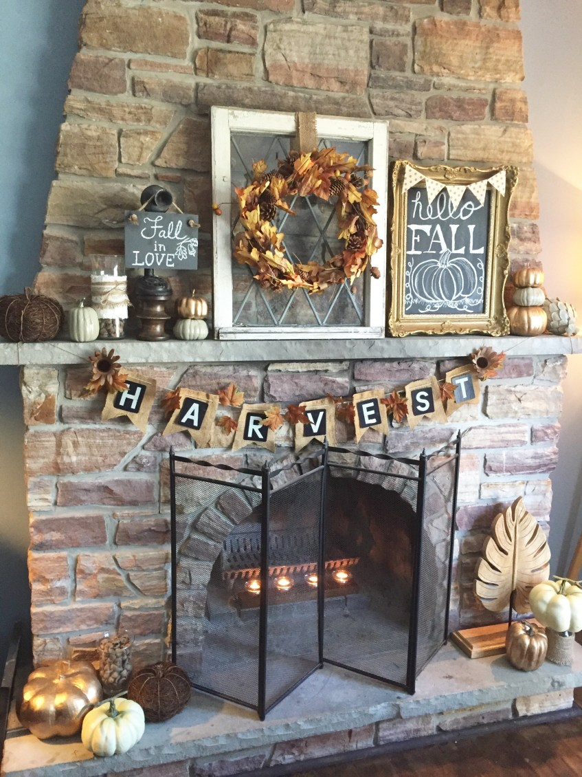 Fall Fireplace Mantel all decked out for the season. Check out how to get this look and more fall decorating ideas at apurdylittlehouse.com