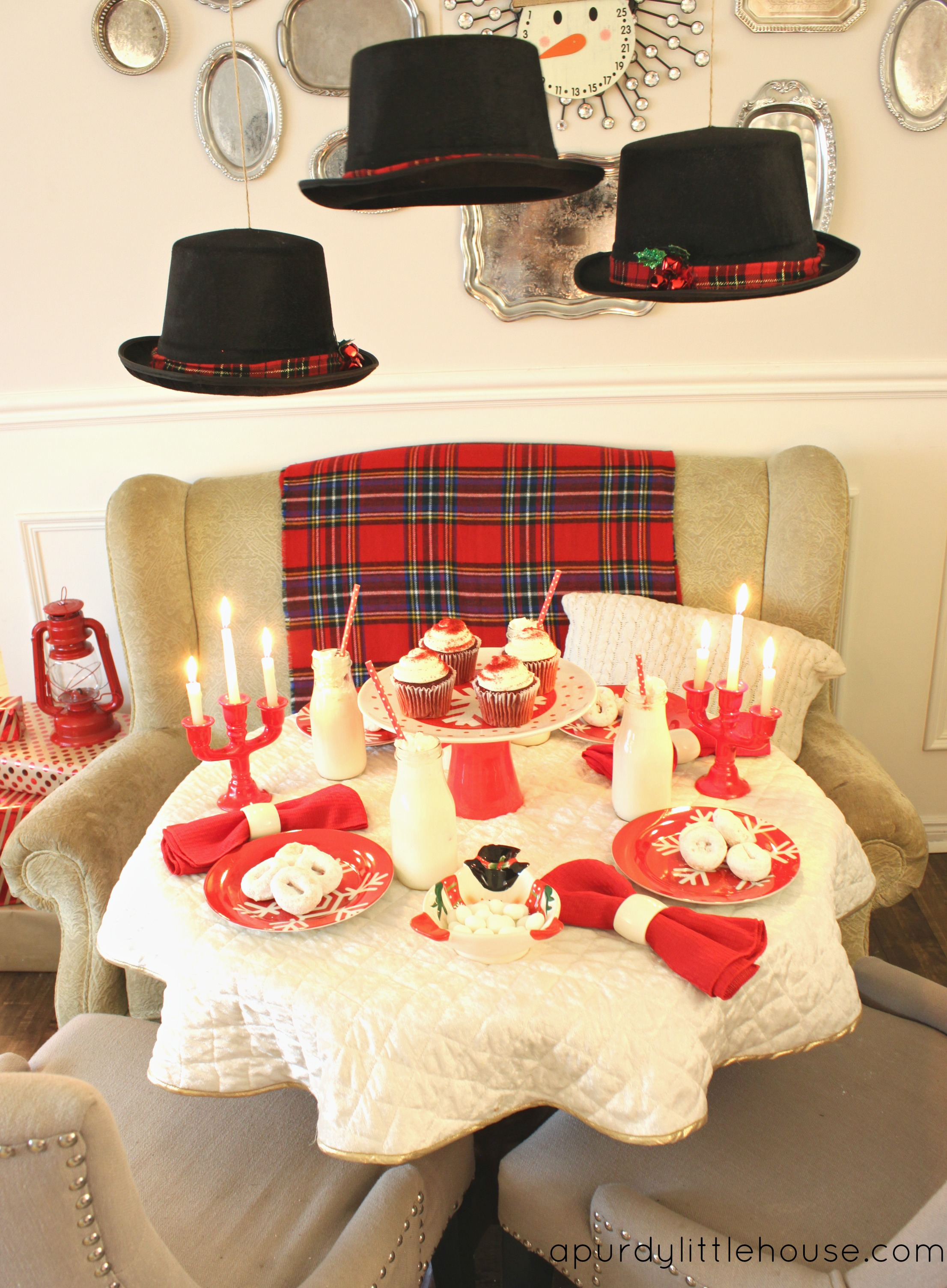 Frosty the Snowman Inspired table setting in red and white at apurdylittlehouse.com & Frosty the Snowman Table Setting - a purdy little house