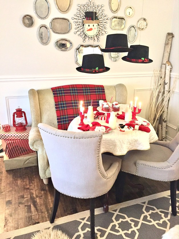 Frosty the Snowman Inspired table setting in red and white at apurdylittlehouse.com