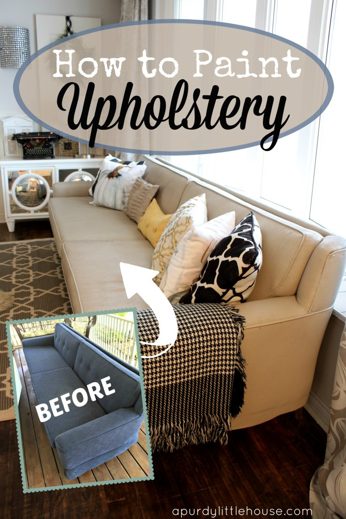 How to Paint Upholstery using chalk paint. See all the details at apurdylittlehouse.com