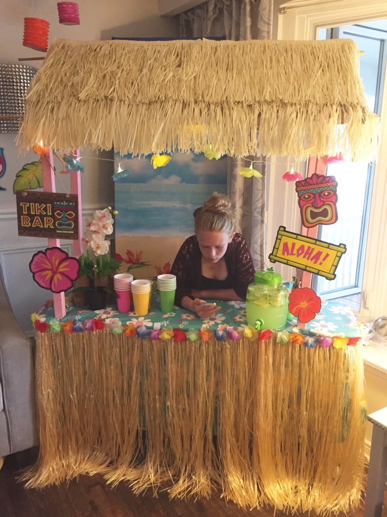 DIY Tiki Bar. How to Make your own Tiki Bar for your Luau Party. Fun Luau Party Decor at apurdylittlehouse.com
