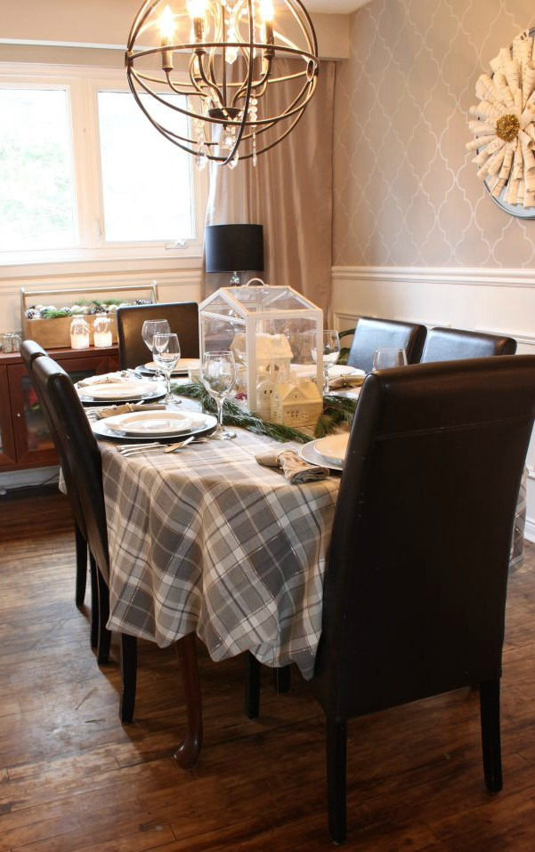 Christmas Home Tour Dining Room featuring grey and silver tones at apurdylittlehouse.com