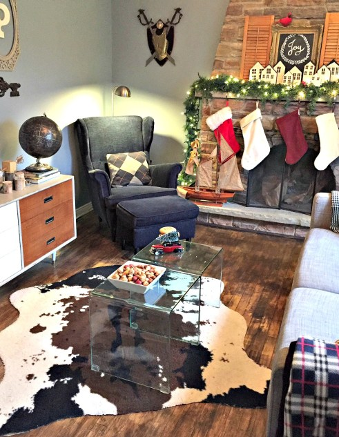 Christmas Home Tour featuring fireplace mantel and den at apurdylittlehouse.com