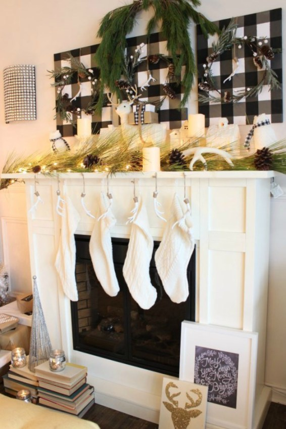 Christmas-Mantel-done-in-buffalo-check-white-and-neutral-decor.-See-all-the-details-at-apurdylittlehouse.com