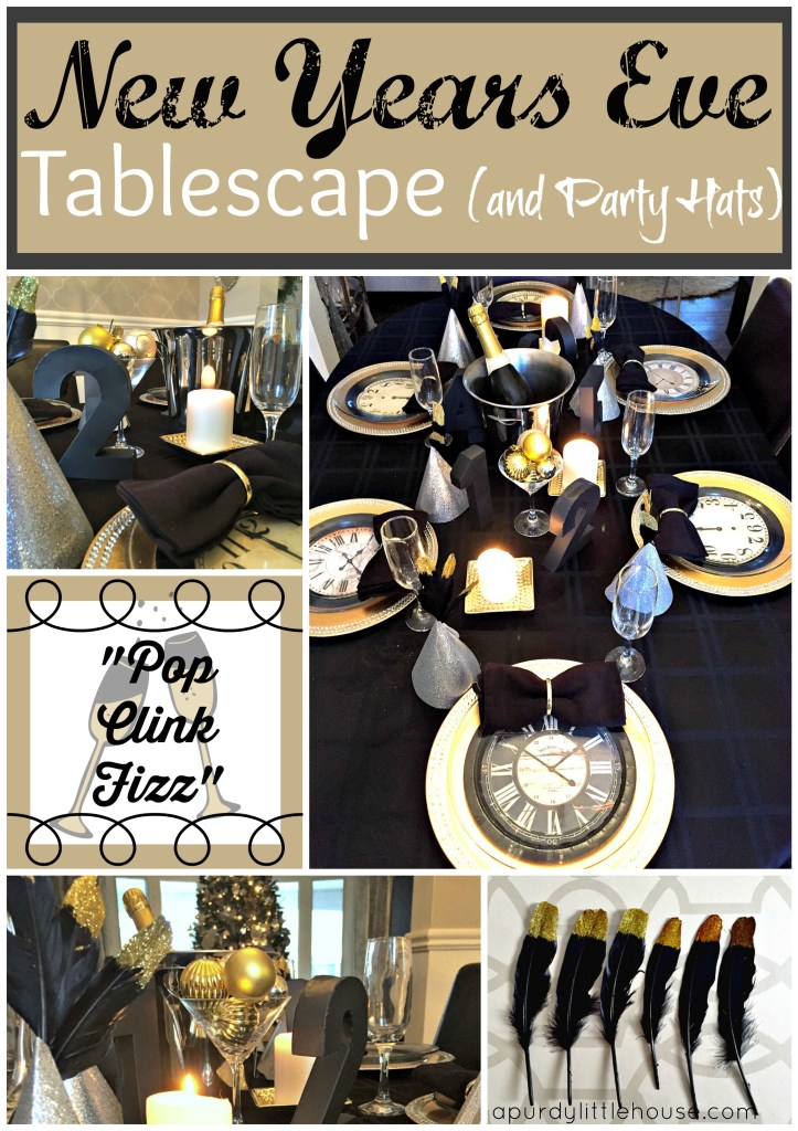 New Years Eve Tablescape and Party Hats to celebrate the new year at apurdylittlehouse.com