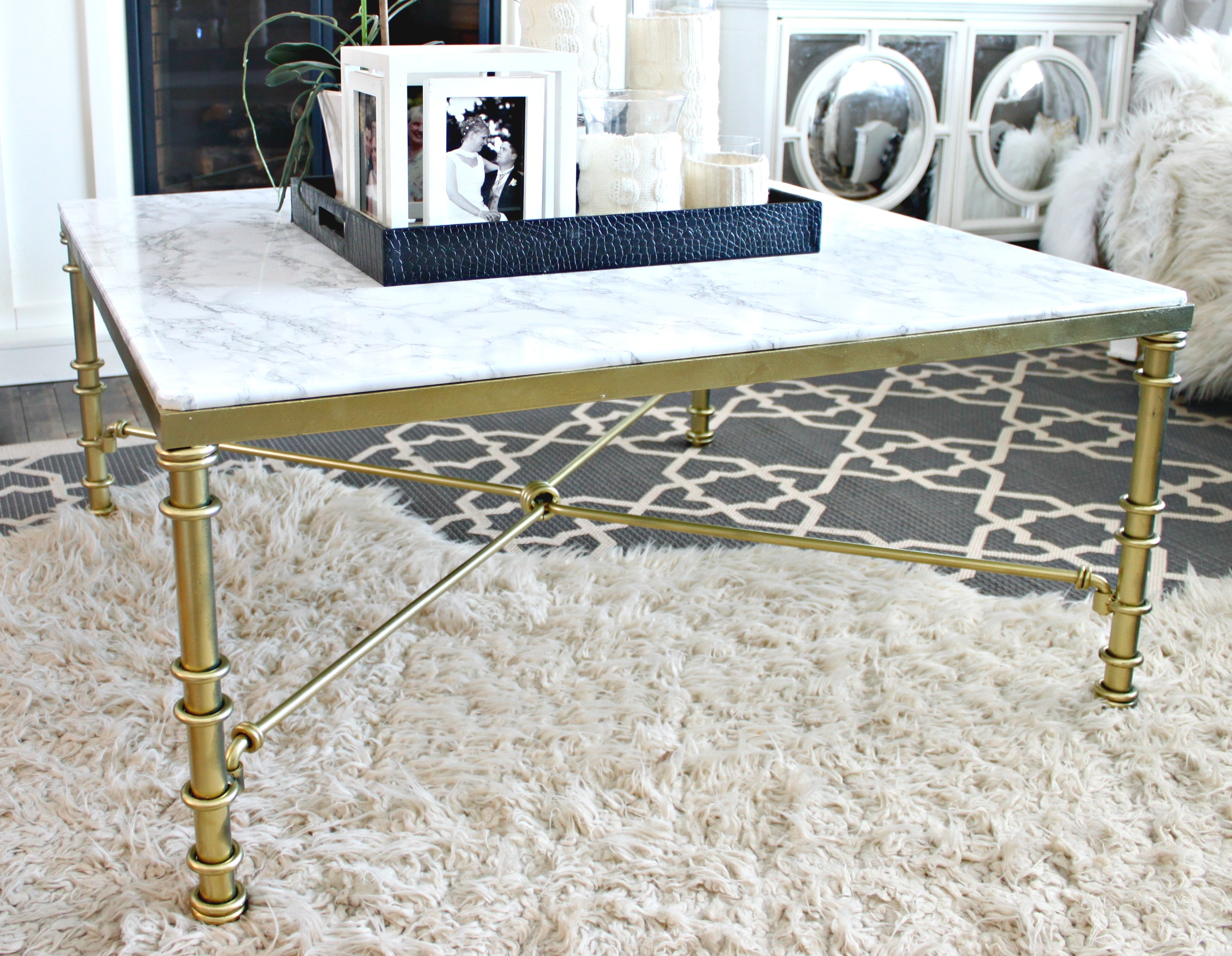 Diy Faux Marble Coffee Table A Purdy Little House