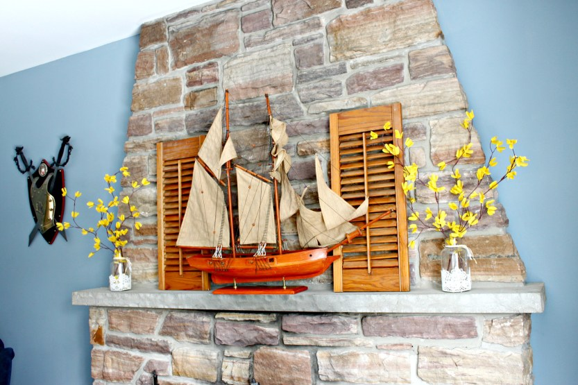 Fireplace Mantel and recipe inspired by The Princess Bride complete with large sea ship and buttercups