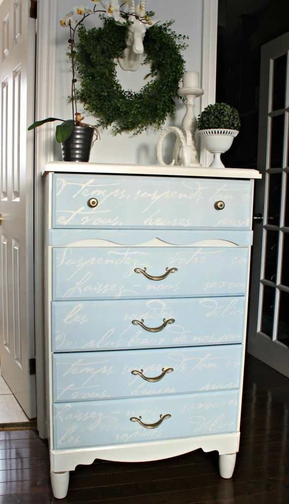 Dresser Upcycle in French Blue with a French poem stenciled on the drawers
