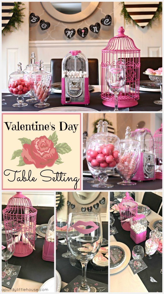 Valentine's Day Table setting using pink and black with chalkboard accents, candy bar and birdcage