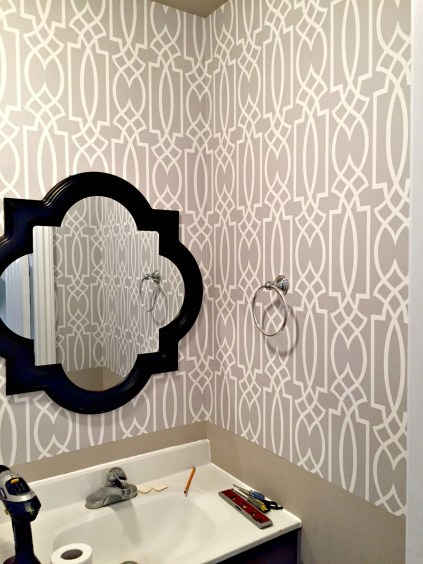 $100 Room Challenge - Week 2 Powder Room Update and how to wallpaper a room the easy way