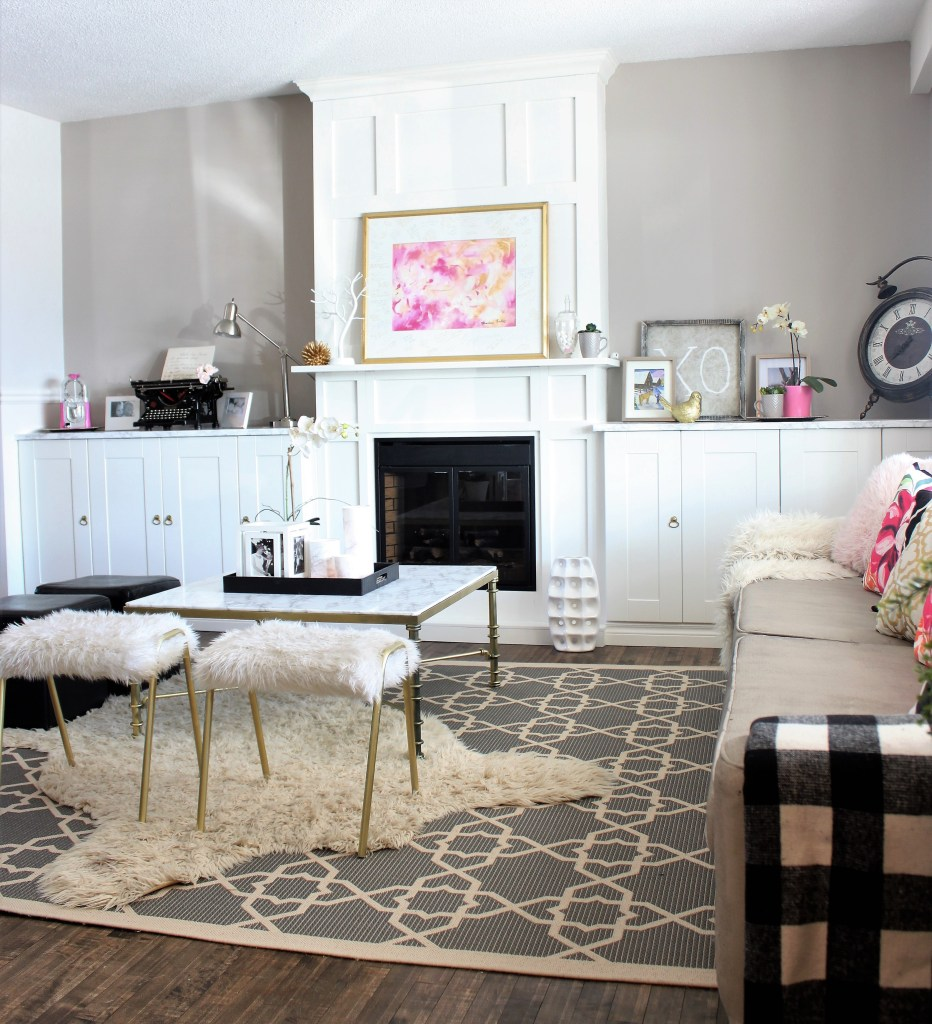 Living Room Built ins around a white electric fireplace