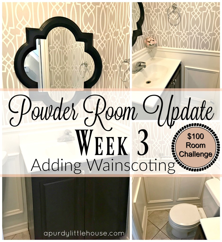 Powder Room Update - Week 3. How to add wainscoting to a small space to create an instant elegant look for your small bathroom.