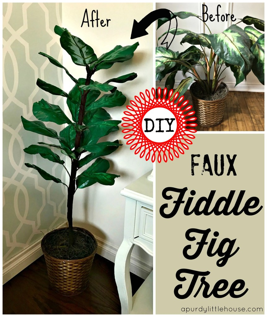 DIY Faux Fiddle Fig Tree at apurdylittlehouse.com