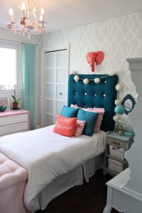 Girls Bedroom Makeover with a Preppy, Modern and Stylish flair at apurdylittlehouse.com