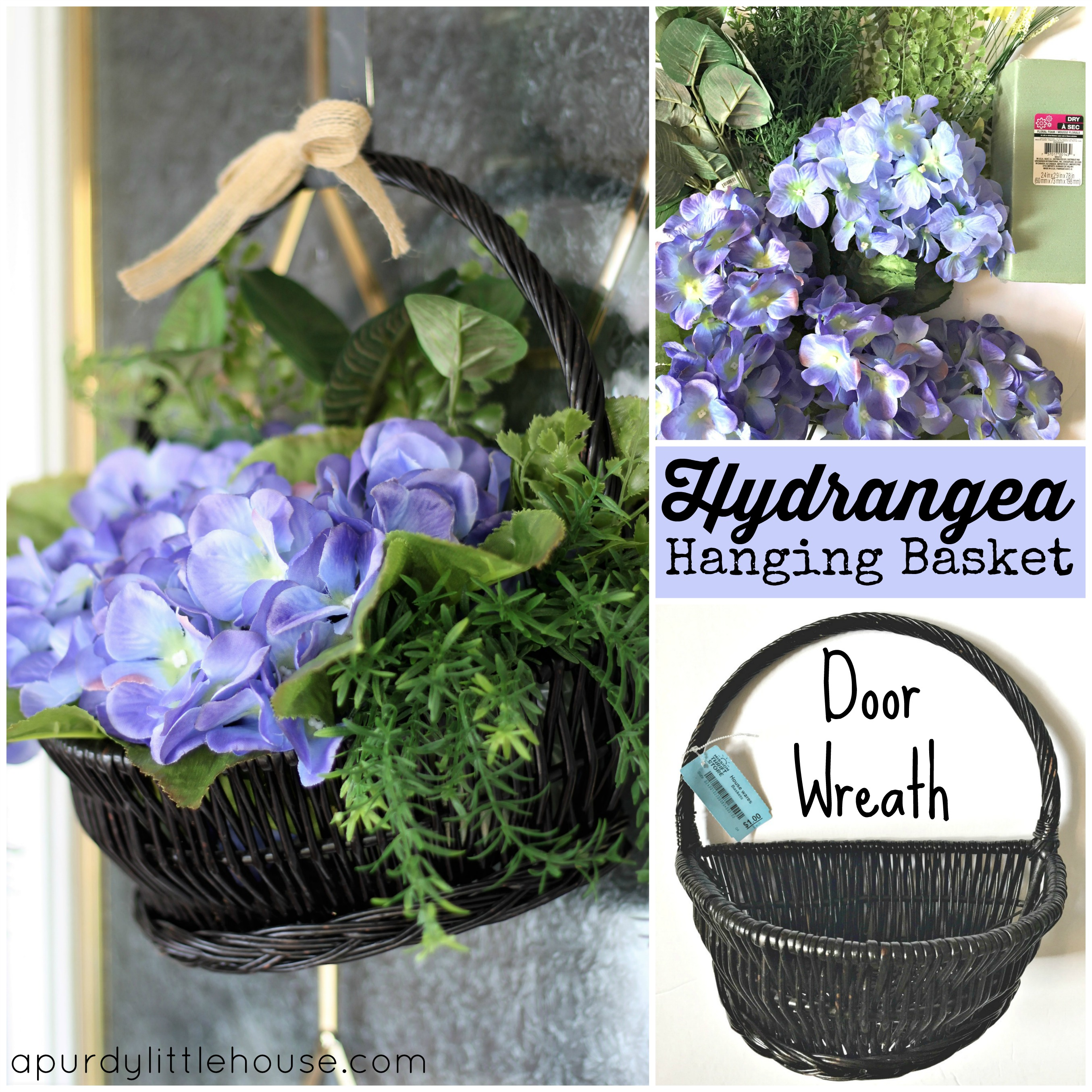 Hydrangea Hanging Basket Door Wreath A Purdy Little House